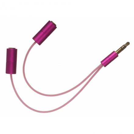 iSplit rozdělovač sluchátek pro dva, růžový