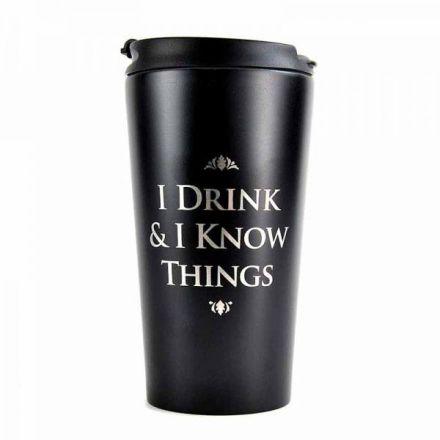 Game of Thrones, I Drink & I Know Things, cestovní hrnek